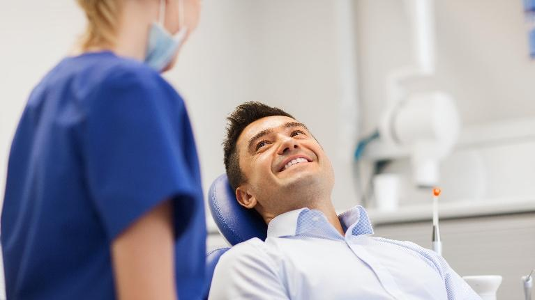 Man in Dentist Chair | Azalea Dental